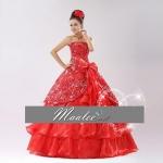พร้อมเช่า ชุดแฟนซี ราตรียาว สีแดง ผ้าแก้วพิมพ์ลายสวย กระโปรงแต่งระบาย