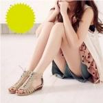 [พร้อมส่ง] instshoe4490 รองเท้าส้นเตี้ย ร้อยสาน สไตล์โรมัน Roman Size 37 สีครีม (ส่งฟรีลงทะเบียน)