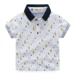 เสื้อยืดคอปกลายสายฟ้าสีเทาอ่อน [size 2y-3y-4y-5y-6y]
