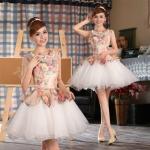 Pre-order / เช่า ชุดแฟนซี ชุดราตรีสั้น หวานแบบ Vintage ผ้าโปร่งลายดอกไม้ กระโปรงผ้าแก้วสีขาว สวยหวาน