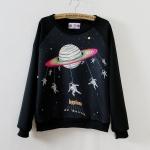 เสื้อแฟชั่นเกาหลี เสื้อกันหนาว สกรีนลายการ์ตูน 2015 สีดำ