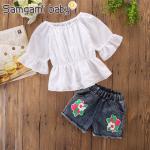 เสื้อ+กางเกง สีขาว แพ็ค 5ชุด ไซส์ 80-90-100-110-120 (เลือกไซส์ได้)