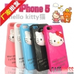 case iphone 5 เคสไอโฟน เคสหน้าน้องแมวคิตตี้ 3D กางหน้าออกมาเป็นขาตั้งได้ น่ารักๆ South Korean mobile phone hello kitty 3D iPhone5