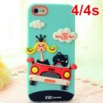 เคส iphone 4s เคสไอโฟน4 KIKI cat Korea Automobile Silicone Case แมวจอมกวนขับรถน่ารักๆ