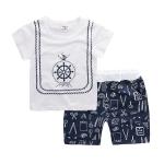 ชุดเซตเสื้อสีขาวลายสมอเรือ+กางเกงสีกรมท่า [size 6m-1y-18m-2y-3y]