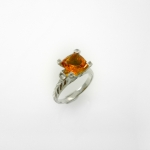 แหวนซีทริน (Citrine Silver Ring with White Topaz)