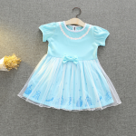 ชุดเจ้าหญิง สีฟ้า แพ็ค 5ชุด ไซส์ 90-100-110-120-130 (เลือกไซส์ได้)