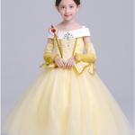 ชุดเจ้าหญิง สีเหลือง แพ็ค 5ชุด ไซส์ 110-120-130-140-150 (เลือกไซส์ได้)