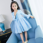 ชุดกระโปรง สีฟ้า แพ็ค 5 ชุด ไซส์ 100-110-120-130-140 (เลือกไซส์ได้)