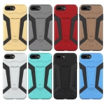 เคส iPhone 8 Plus เคสกันกระแทกแยกประกอบ 2 ชิ้น ด้านในเป็นซิลิโคนสีดำ ด้านนอกพลาสติกเคลือบเงาโลหะเมทัลลิค มีขาตั้งสามารถตั้งได้ สวยมากๆ เท่สุดๆ ราคาถูก