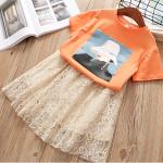เสื้อ+กระโปรง สีส้ม แพ็ค 5ชุด ไซส์ 100-110-120-130-140