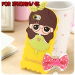 case iphone 4/4s เคสไอโฟน4/4s cute little bush เคสซิลิโคน 3D ลายผู้หญิงน่ารักๆ