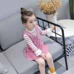 ชุดเดรสสีชมพู+เสื้อลายขวางแขนยาวสีชมพู [size 2y-3y-4y-5y-6y]