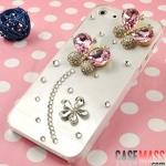 case iphone 5 เคสไอโฟน5 เคสติดผีเสื้อประดับเพชรปีกเป็นเพชรเม็ดใหญ่สีชมพูน่ารักสวยมากๆ sleeve rhinestones shell