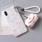 เคส iPhone X พลาสติก TPU ลายดอกไม้แสนน่ารัก พร้อมสายคล้องมือและกระเป๋าเก็บสายหูฟัง ราคาถูก