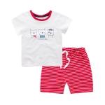 ชุดเซตเสื้อสีขาวลายน้องแมว+กางเกงสีแดง [size 6m-1y-18m-2y-3y]