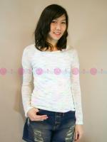 เสื้อแขนยาวผ้ายืด Style Nanda เนื้อบางสีขาวแต่งลายสีๆเพิ่มลูกเล่นให้เสื้อน่ารักๆขึ้นอีกค่ะ