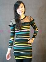 เดรสผ้ายืดแขนยาวลายทางสีสดใสตกแต่งระบายและผ้าซีทรูช่วงไหล่