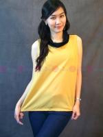 เสื้อชีฟองแขนกุด สวยไม่เหมือนใครด้วยคอเสื้อถ่วงๆเล็กน้อย สีเหลือง-ดำ สามารถตั้งขึ้นคล้ายๆคอเต่า หริอปล่อยทิ้งก็เก๋ไปอีกแบบค่ะ