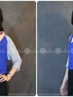 เสื้อเชิ้ตผ้าชีฟองคอปก แต่งแขนค้างคาวสามส่วน สีน้ำเงิน-เทา เพิ่มลูกเล่นด้วยการเล่นสีของปกเสื้อ ตัวเสื้อ และแขนเสื้อค่ะ