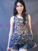 เสื้อชีฟองแขนกุดลายเสือสีฟ้า