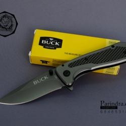 มีดพับ Buck Knives มีด buck B43 สี Titanium Grey แซมลายเคฝล่า (OEM) สวยมาก