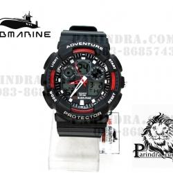 นาฬิกา US submarine Adventure Protector รุ่น TP3129M สีดำตัดแดงผิวด้าน พื้นหลังเทา