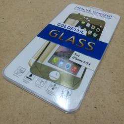 ฟิล์มกระจกขอบสีลายในตัว iPhone 5 -5s สีทอง