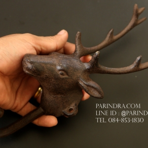 รูปหล่อหัวกวาง ขนาด 10 นิ้ว สำหรับการตกแต่งแนววินเทจ ใช้แขวนของได้ สวยงามมาก ทำจากโลหะ