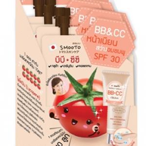 Smooto Tomato Collagen BB&ampCC Cream 10 กรัม บีบี ซีซี สูตรใหม่จากประเทศญี่ปุ่น เมื่อลูบไล้เนื้อครีมไปบนผิวหน้า ครีมจะแตกตัวเป็นหยดน้ำ แล้วซึมลงผิวอย่างรวดเร็ว