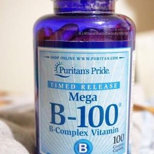 #อาหารเสริมความจำ# Puritan's Pride Vitamin B-100 Complex Timed Release 100 mg 100 Tablets