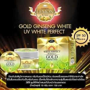 Gold ginseng lemon uv white perfect spf 50 pa + + +ครีมกันแดดนี้ยังมีส่วนช่วยลดริ้วรอย และทำให้ผิวกระจ่างใส ได้ในขั้นตอนเดียวกัน