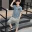 เสื้อ+กางเกง สีฟ้า แพ็ค 5 ชุด ไซส์ 120-130-140-150-160 (เลือกไซส์ได้) thumbnail 3