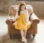 เสื้อ+เอี๊ยมกระโปรง สีเหลือง แพ็ค 5 ชุด ไซส์ 120-130-140-150-160 (เลือกไซส์ได้) thumbnail 3