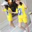 เสื้อ+กางเกง สีเหลือง แพ็ค 5 ชุด ไซส์ 120-130-140-150-160 (เลือกไซส์ได้) thumbnail 1