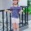 เสื้อ+กางเกง สีน้ำเงิน แพ็ค 5 ชุด ไซส์ 120-130-140-150-160 (เลือกไซส์ได้) thumbnail 3