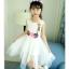 ชุดเดรสแขนกุดสีขาวแต่งดอกไม้ที่เอว [size 5y-6y-7y-8y-9y-10y] thumbnail 2