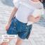 กางเกงยีนส์ขาสั้นแต่งกระดุมสีทอง แพ็ค 5 ชิ้น [size 2y-3y-4y-5y-6y] thumbnail 1