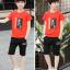 เสื้อ+กางเกง สีแดง แพ็ค 5 ชุด ไซส์ 130-140-150-160-170 (เลือกไซส์ได้) thumbnail 5