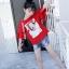 เสื้อ สีแดง แพ็ค 6 ชุด ไซส์ 110-120-130-140-150-160 (เลือกไซส์ได้) thumbnail 5