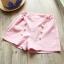 ชุดเซตเสื้อลายขวาง+กางเกงขาสั้นสีชมพู แพ็ค 3 ชุด [size 2y-4y-5y] thumbnail 3
