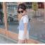 ชุดเดรสสีขาว+เสื้อกั๊กลายทางสีฟ้า [size 2y-3y-4y-5y-6y] thumbnail 2