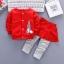 ชุดเซตเสื้อแขนยาวสีแดงลายกระต่าย+กางเกงกระโปรงสีแดง แพ็ค 4 ชุด [size 1y-2y-3y-4y] thumbnail 1