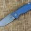 RHK Half Track Tanto Working Finish Blade Battle Blue Titanium Textured Handle