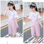 เสื้อ+เอี๊ยมกางเกง สีชมพู แพ็ค 5 ชุด ไซส์ 120-130-140-150-160 (เลือกไซส์ได้) thumbnail 4
