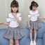 เสื้อ+กระโปรง สีขาว แพ็ค 5 ชุด ไซส์ 120-130-140-150-160 (เลือกไซส์ได้) thumbnail 1