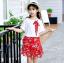 เสื้อ+กระโปรง สีแดง แพ็ค 5 ชุด ไซส์ 120-130-140-150-160 (เลือกไซส์ได้) thumbnail 2