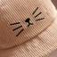 หมวกปีกผ้าลูกฟูกสีน้ำตาลแต่งลายหน้าแมว thumbnail 2
