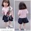 ชุดเซตเสื้อสีชมพูลายดอกกุหลาบ+กางเกงสีกรมท่า แพ็ค 4 ชุด [size 6m-1y-2y-3y] thumbnail 2