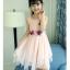 ชุดเดรสแขนกุดสีชมพูแต่งดอกไม้ที่เอว [size 5y-6y-7y-8y-9y-10y] thumbnail 1